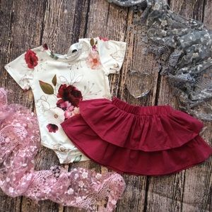 Other - Boutique Baby Girls Leo & Skirt Set